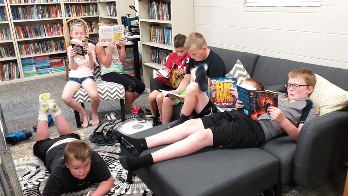 5th graders chilling out with their favorite books!