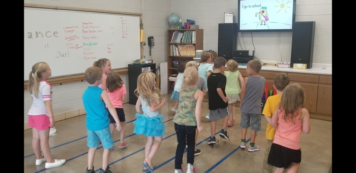 First Grade dancing and singing together!