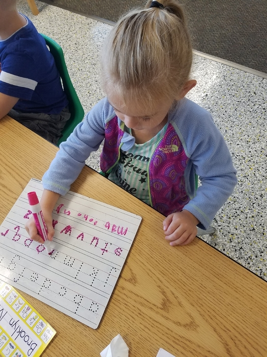 Working on our letters.