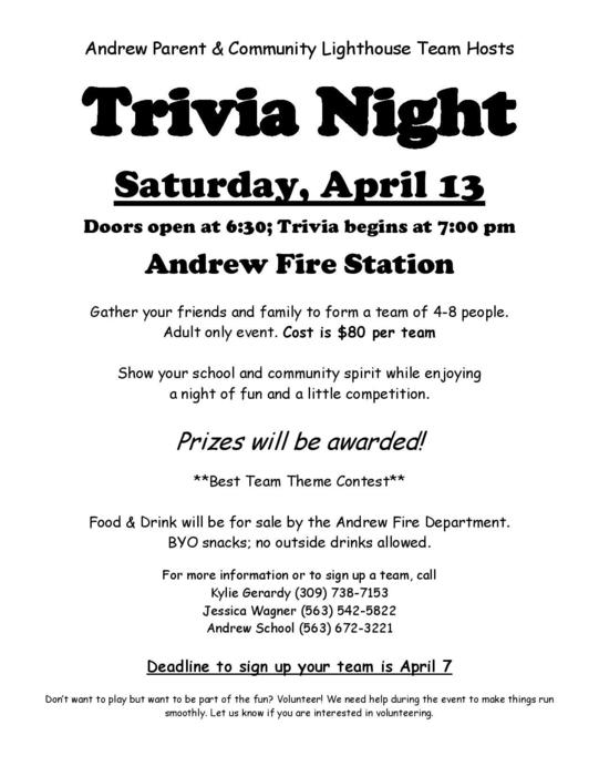Andrew trivia night flier
